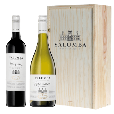 Yalumba Samuel's Collection Roussanne en Shiraz-Cabernet Sauvignon in houten kist